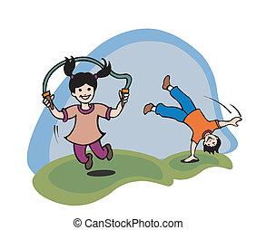 Ilustración de niños jugando en una G