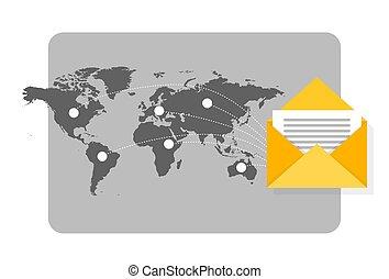 Ilustración de noticias con correo volando por todo el mundo con mapa como fondo