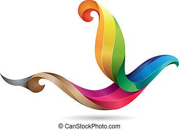 Ilustración de pájaro colorida
