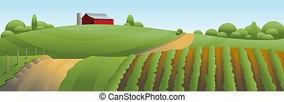 Ilustración de paisajes agrícolas