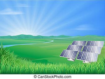Ilustración de paisajes solares