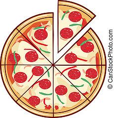 Ilustración de pizza con una rebanada