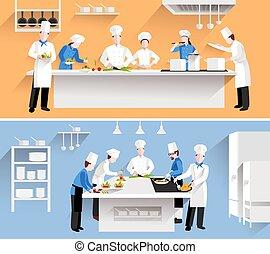 Ilustración de proceso de cocina