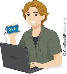 Ilustración de programación para adolescentes