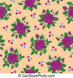 Ilustración de rosas púrpura con lunares repetidos.