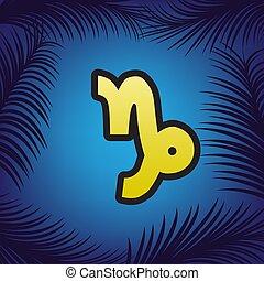 Ilustración de signos Capricornio. Vector. Un icono dorado con un punto negro