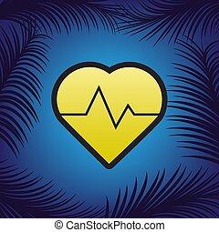 Ilustración de signos cardíacos. Vector. Un icono dorado con un punto negro