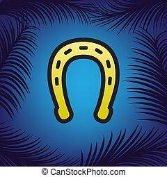Ilustración de signos de Horseshoe. Vector. Un icono dorado con un punto negro