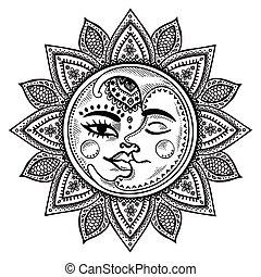 Ilustración de sol y luna