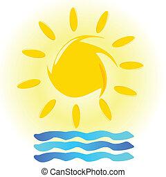 Ilustración de sol y mar