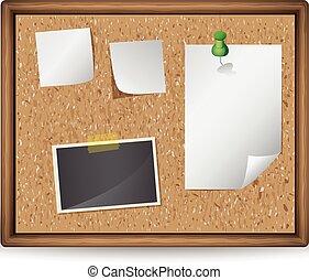 Ilustración de tablón de anuncios con notas en blanco y fotos