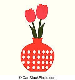 Ilustración de tulipanes rojos en un jarrón rojo