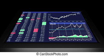 Ilustración de TV: gráficos de negocios en TV, el comercio de valores