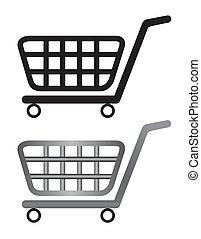 Ilustración de un carrito de compras aislado en un fondo blanco