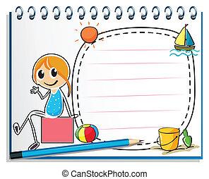 Ilustración de un cuaderno y un lápiz con una imagen de una chica sentada en una caja en un fondo blanco