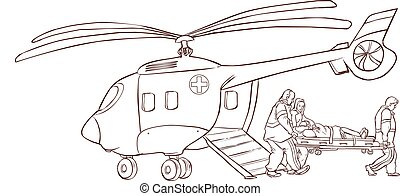 Ilustración de un helicóptero rojo
