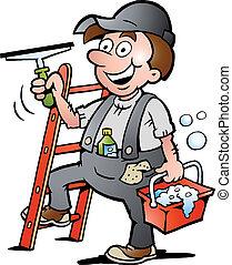 Ilustración de un limpiador de ventanas