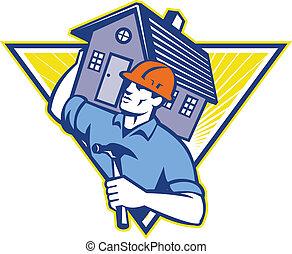 Ilustración de un obrero constructor que lleva una casa en hombros dentro del triángulo hecho al estilo retro.