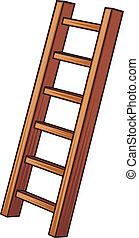 Ilustración de una escalera de madera