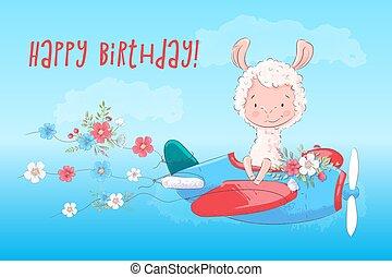 Ilustración de una tarjeta de felicitación o princesa para un cuarto de niños Lama en un avión con flores, ilustración vectorial en estilo de dibujos animados