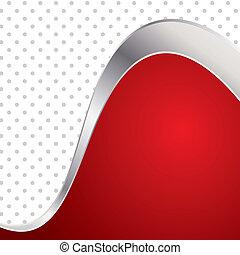 Ilustración de vector colorido fondo abstracto. Trendy onda roja con marco de metal.
