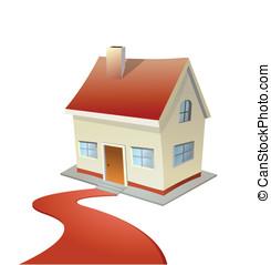 Ilustración de vector de casa con alfombra roja