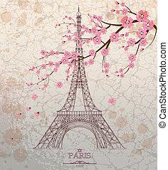 Ilustración de vector de vitage de torre Eiffel sobre fondo grunge