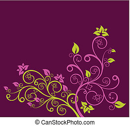 Ilustración de vector floral púrpura y verde