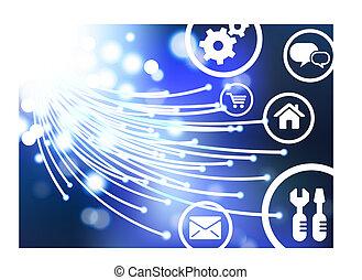 Ilustración de vector original: fibra óptica de cable en Internet con iconos y botones en línea compatibles