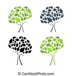 Ilustración de vectores abstractos de árboles aislada en el fondo blanco
