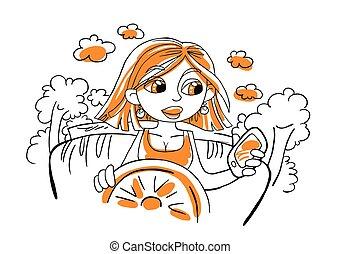 Ilustración de vectores con una chica de dibujos en un coche.