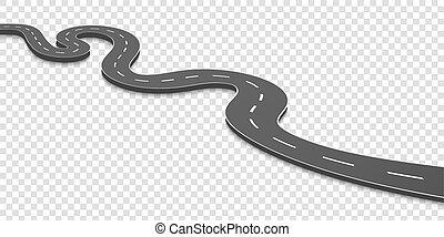 Ilustración de vectores creativos de la carretera curva. Diseño de arte. Autopista con marcas. Dirección, transporte. Elemento gráfico de concepto abstracto. Una plantilla de información de ubicación. Pin pointer