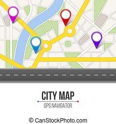 Ilustración de vectores creativos de la ciudad del mapa. Navegación por carretera con marcadores GPS y punteros. Diseño de arte. Ruta de la ciudad e infraestructura. Elemento gráfico de concepto abstracto.