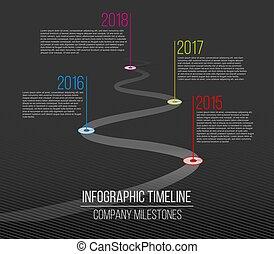 Ilustración de vectores creativos de la compañía hitos de tiempo. Tentación con punteros. Diseño de arte de la línea de carreteras curvados con los puestos de información. Elemento gráfico de concepto abstracto. Historia.