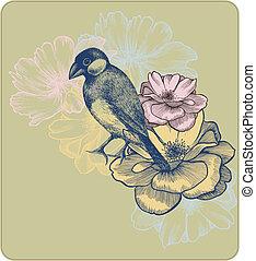 Ilustración de vectores de aves y rosas florecientes, arrastre a mano.