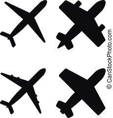 Ilustración de vectores de aviones negros