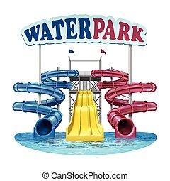 Ilustración de vectores de azul plástico de tornillo, rojo y amarillo toboganes con agua en el parque acuático sobre fondo blanco