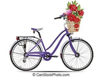 Ilustración de vectores de bicicleta de ciudad en estilo plano.