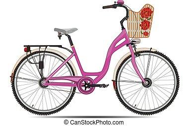 Ilustración de vectores de bicicleta de ciudad en estilo plano