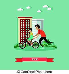 Ilustración de vectores de bicicleta en estilo plano