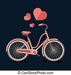 Ilustración de vectores de bicicleta hipster urbana en estilo plano moderno con corazones.