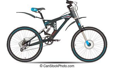 Ilustración de vectores de bicicleta montañosa al estilo plano.