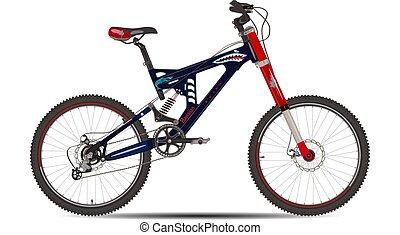 Ilustración de vectores de bicicleta montañosa al estilo plano