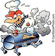 Ilustración de vectores de cartón de un pollo chef montando un barril de barbacoa BBQ