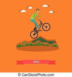 Ilustración de vectores de chico montando bicicleta BMX en estilo plano