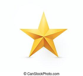 Ilustración de vectores de cinco puntas de estrella de metal