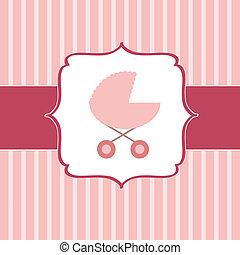 Ilustración de vectores de cochecito rosa para recién nacida