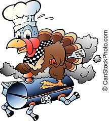 Ilustración de vectores de dibujos animados de un chef de pavo de acción de gracias montando un barril de barbacoa BBQ