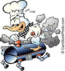 Ilustración de vectores de dibujos animados de un pato chef montando un barril de barbacoa BBQ