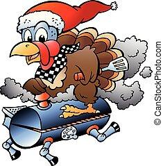 Ilustración de vectores de dibujos animados de un pavo de Acción de Gracias de Navidad montando un barril de barbacoa BBQ